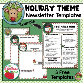 Holiday Newsletter Template  By The Knitted Apple | Teachers Pay