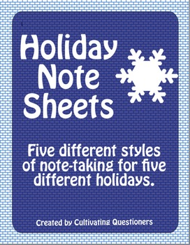 Holiday Note Sheets: Hannakuh, Kwanzaa, Christmas, Diwali, New Year's