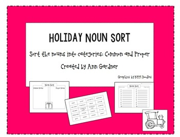 Holiday Noun Sort - Common and Proper Nouns
