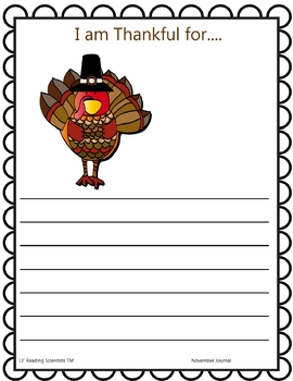 Thanksgiving Writing and Spelling Journal