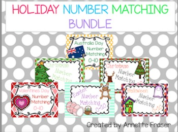 Holiday Number Matching Cards Bundle