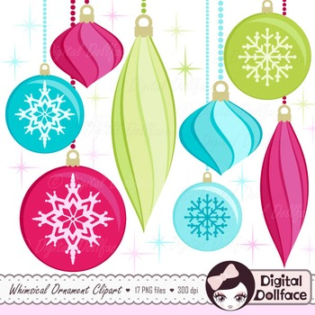 Holiday Ornament Clipart / Digital Christmas Graphic Images