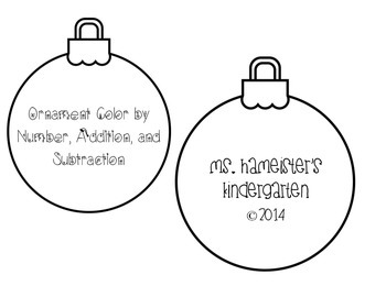Holiday Ornament Color by Number, Addition, and Subtraction