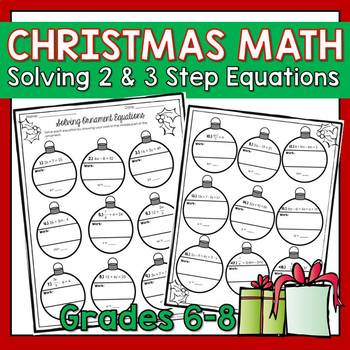 Holiday Themed Math: Solving Ornament Multi-Step Equations