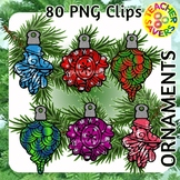 Holiday Ornaments Coloring Clip Art Set Commercial and Per