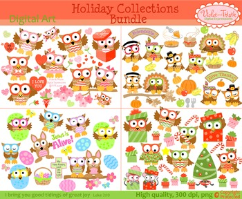 Holiday Owl Clipart Christmas Valentines Thanksgiving Easter Clip art BUNDLE