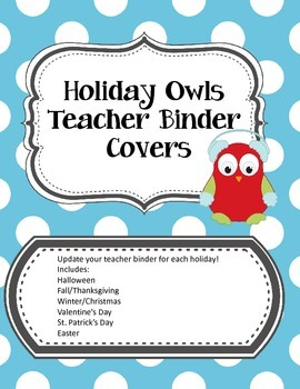 Holiday Owls Teacher Binder