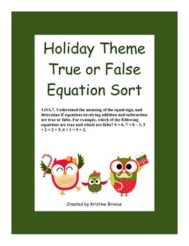 Holiday Owls True False Equation Sort