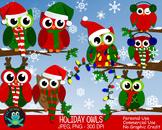 Holiday Winter Owls {Upzaz Digital Clipart}