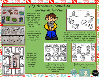 Holiday PRONOUNS Teaching   he/she    his/hers  Lots of fun thematic activities!