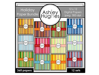12x12 Digital Paper Bundle: Holiday Collection {A Hughes Design}