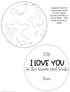 Valentine's Day Gift - Moon Phases Science Activity - Love You To The Moon