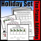 Holiday Part, Part Whole Addition With Ten Frames (Colored Mats & Worksheets)