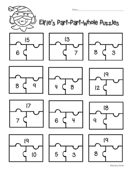 Holiday Part-Part-Whole Puzzles - 3 Leveled Worksheets!  Santa, Rudolph and Elf