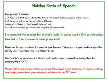 Holiday Parts of Speech