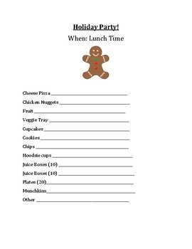 Holiday Party Food List