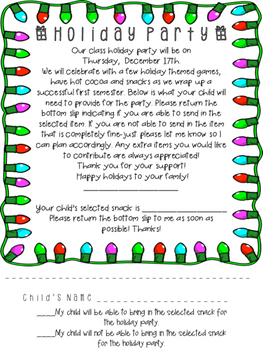 Holiday Party Form