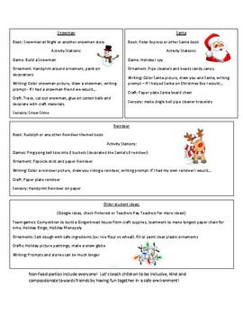 Food Allergy: Holiday Party Lesson Plans - No Food