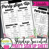 Holiday Party Sign Up Sheet   Shiplap and Succulent
