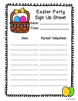 holiday party sign up sheets by enchanting little minds tpt