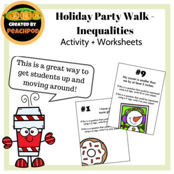 Holiday Party Walk - Inequalities: Activity + Worksheets