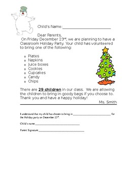 Holiday Party letter