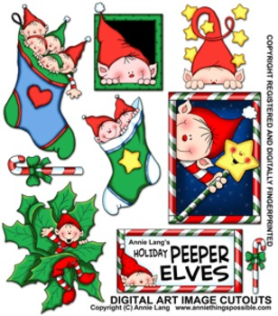 Holiday Peeper Elves Character Clipart