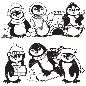 Penguin Clip Art - 14 Piece Holiday Set with Color and Blackline Illustrations