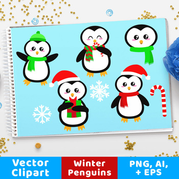 Holiday Penguins Clipart, Christmas Clipart, Holiday Clipart, Cute Animals