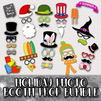 Holiday Photo Booth Prop Bundle - Includes 12 Different Photo Booth Props Sets