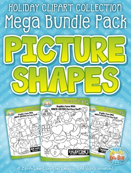 Holiday Picture Shapes Clipart Mega Bundle — Includes 200 Graphics!