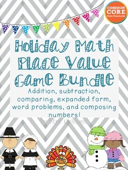 Holiday Place Value Math Game Bundle: 1st and 2nd Grade