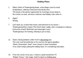 Holiday Plans- Thanksgiving Poetry for Test Preparation