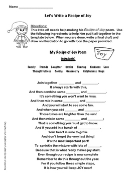 Holiday Poem - A Recipe Of Joy Writing Activity