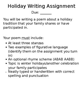 Holiday Poem Writing Assignment