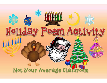 Holiday Poetry Activity for Thanksgiving Christmas Hanukka