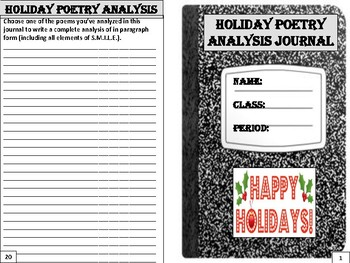 Holiday Poetry Analysis Journal