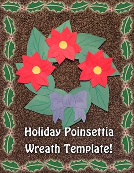 Holiday Poinsettia Wreath Craft Template!