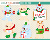 Holiday Polar Bears Clip Art - color and outlines