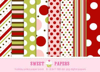 Holiday Polka Red Chartreuse Pink Digital Paper Pack - by Sweet Papers