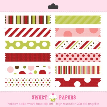 Holiday Polka Washi Tape Digital Clip Art Set - by Sweet Papers