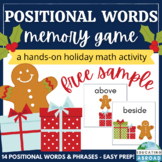 Positional Vocabulary Memory Game | Holiday Math Activity | Gingerbread