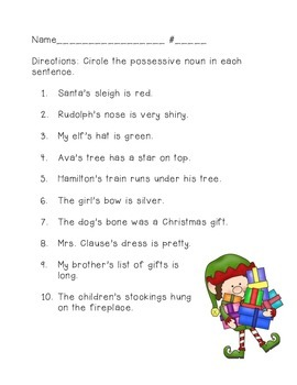 Holiday Possessive Noun Sentences
