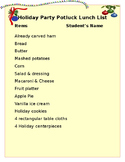 Holiday Potluck or Christmas Party Luncheon Sign-up List