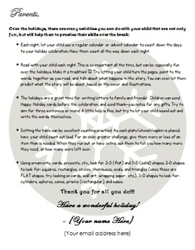 Holiday Practice Parent Letter