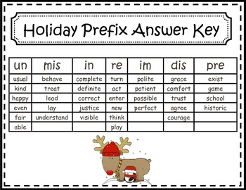 Holiday Prefix Word Sort