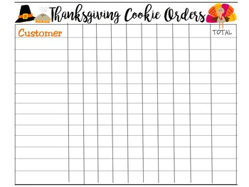 Holiday Presales Cookie Order Forms