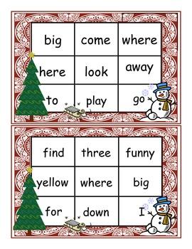 Holiday Preschool Dolch Words Bingo Game