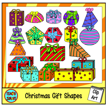Christmas Gift 3D Shapes Clip Art