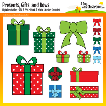 Holiday Presents, Gifts, and Bows Clip Art Graphics